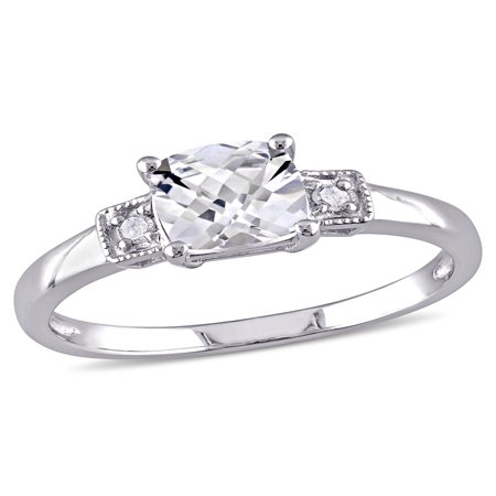 1-1/4 Carat T.G.W. Cushion-Cut Created White Sapphire and Diamond Accent Sterling Silver Engagement Ring (Halloween Engagement Rings)
