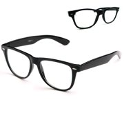9090cc0662f6 Black Nerdy Geek Old School Clear Lens Horn Rim Eye Glasses Plastic Frame  New