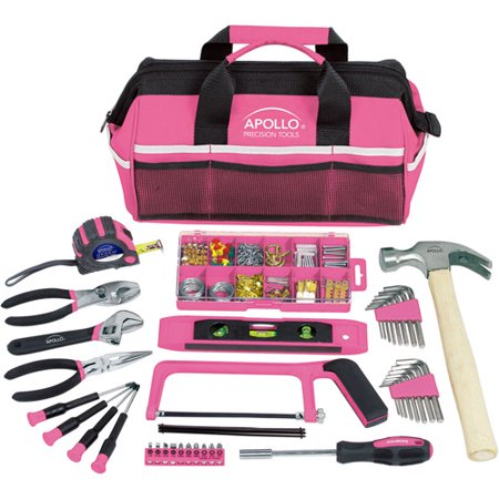 Apollo Tools DT0020P 201-Piece Household Tool Kit in Tool Bag, Pink - Pink Tool Bag