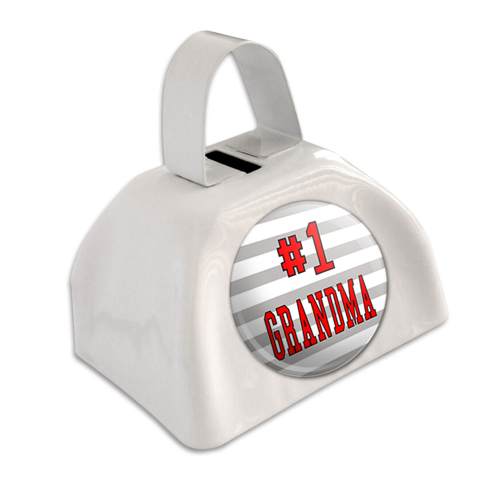 Graphics and More Personalized Custom White Background Any Occasion White Cowbell Cow Bell