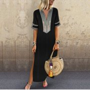 44346ca3bde Womens Cotton Linen Maxi Dress Short Sleeve Casual Kaftan Tunic Gypsy Ethnic