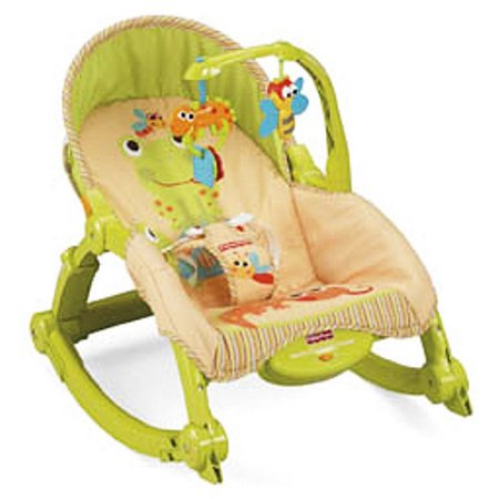 Infant Newborn Rocking Chair - Fisher-Price Newborn-To-Toddler Portable Rocker, Green & Orange