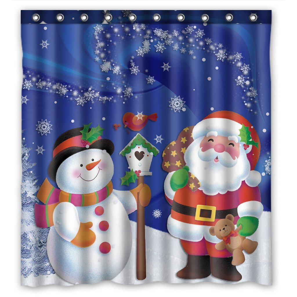 Shower Curtains Hooks Liners 66x72 Inches Winter Holiday