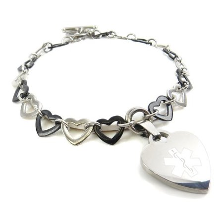 MyIDDr- MS Bracelet, Steel Silver & Black Hearts, Pre-Engraved](Ms Bracelets)