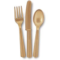 (3 Pack) Unique Industries Assorted Plastic Silverware for 6, Gold, 18pc