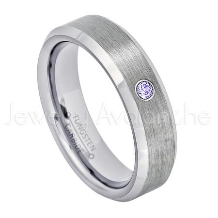 Solitaire Tanzanite Ring - 6mm Ladies Beveled Tungsten Ring - 0.07ct Solitaire Tanzanite Ring - Personalized Tungsten Wedding Ring - Custom Made December Birthstone Ring TN038BS
