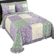 Mariel Patchwork Chenille Lightweight Bedspread, King, Purple