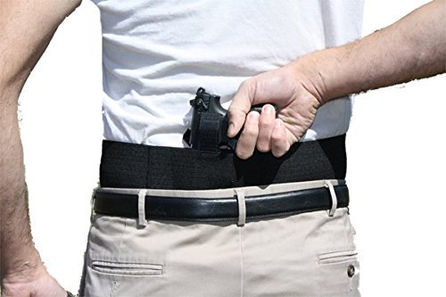 Belly Band Gun Holster Behind the Back Concealed Carry with Extra Magazine Pouches (Small Black Left Hand)
