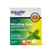 Equate Coated Nicotine Gum, Cool Mint Flavor, 4mg, 160 Pieces