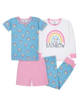 Mix N Match Tight-fit Cotton Pajamas, 4pc (Baby Girls and Toddler Girls)