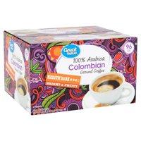 Great Value 100% Arabica Colombian Medium Dark Ground Coffee, 0.33 oz, 96 count