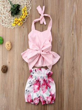 2Pcs Fashion Newborn Kids Baby Girl Bowknot Tops+Shorts Pants Outfit Clothes Set 0-2T