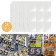 25pcs Card Sleeves Collector Binder Cards, Trading Card Storage Album Pages Card Collector Coin Holders Wallets Sleeves Set Perfect for Skylanders, Pokemon, Top Trumps