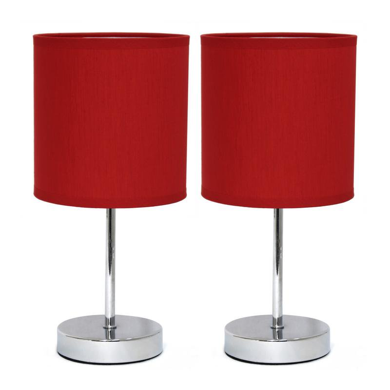 Luxury Home Chrome Mini Basic Table Lamp with Fabric Shade 2 Pack Set