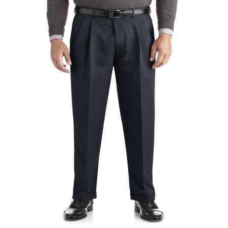 New Mens Big Boys Pants - Men's Pleated Cuffed Microfiber Dress Pant With Adjustable Waistband