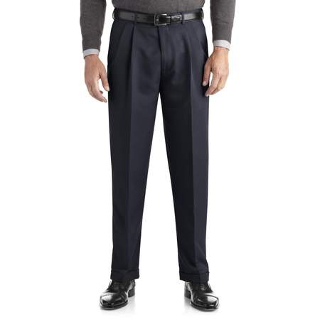 Men's Pleated Cuffed Microfiber Dress Pant With Adjustable (Trim Pant Suit)