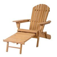 Outdoor Wood Adirondack Chair Foldable w/ Pull Out Ottoman Patio Furniture 240