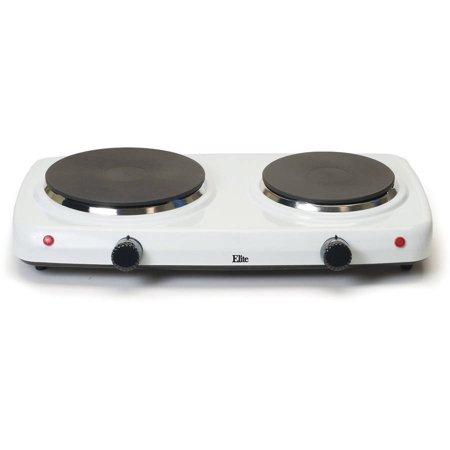 White Electric Stove - Elite Cuisine Electric Double Cast Burner Hot Plate EDB-302F, White