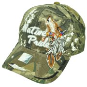 98a8cb95db8d9 Native Indian American Pride Wolf Camouflage Green Hat Cap Adjustable  Feather