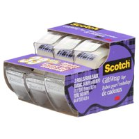 Scotch Gift Wrap Tape 3 Pack, Clear, 3/4 in. x 300 in., 3 Dispensers/Pack