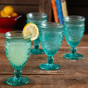 The Pioneer Woman Adeline Embossed 12oz Footed Glass Goblets, Set of 4