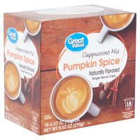 Great Value Pumpkin Spice Cappuccino Mix, 0.53 oz, 18 count