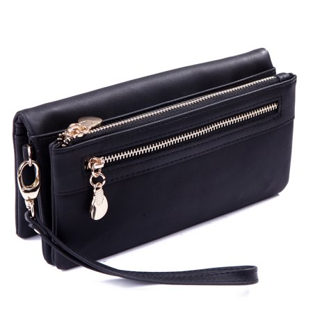 HDE Womens Suede Wallet Multi-Function Zipper Clutch Wristlet (Black)