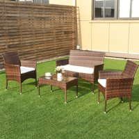 Costway 4PCS Outdoor Patio PE Rattan Wicker Table Shelf Sofa Furniture Set With Cushion