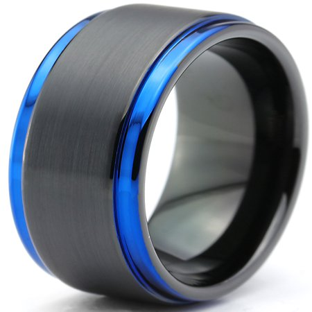 Tungsten Wedding Band Ring 10mm for Men Women Black Blue Beveled Edge Brushed Lifetime Guarantee