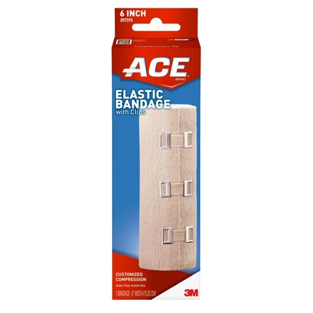 ACE Brand Elastic Bandage with Clips, 6 in., Beige,