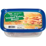 Great Value Thin Sliced Smoked Turkey Breast, 9 Oz.