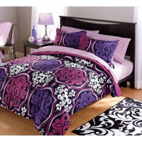 Your Zone Dotted Damask Purple Bedding Comforter Set, 1 Each