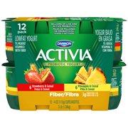 Activia Lowfat Fiber Strawberry & Pineapple Probiotic Yogurt, 4oz., 12 count