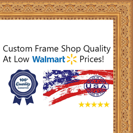6x12 - 6 x 12 Antique Gold Solid Wood Frame with UV Framer's Acrylic & Foam Board Backing - Great For a Photo, Post