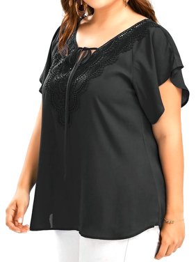 AKFashion Women's Plus Size V Neck Floral Lace Raglan Sleeve Ruched Blouse Chiffon Shirts Tops