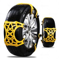 Zone Tech Car Snow Chains -  Strong Durable All Season Anti-Skid Car, SUV, and Pick Up Patterned Tire Chains for Emergencies and Road Trip- 6 piece