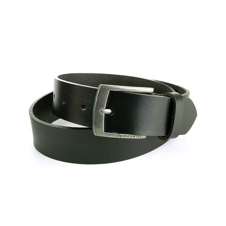 "Black Skull Belt Buckle - Alpine Swiss Mens Leather Belt Slim 1 1/4"" Casual Jean Dakota Signature Buckle"
