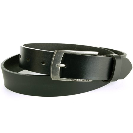 "Alpine Swiss Mens Leather Belt Slim 1 1/4"" Casual Jean Dakota Signature Buckle (Double Stitch Leather Belt)"