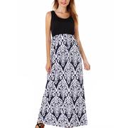 SAYFUT High Waistline Sleeveless Floral Print Casual Summer Long Maxi Dresses For Women's Plus Size S-2XL Black