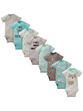 Assorted Short Sleeve Onesies Bodysuits, 8pk (Baby Boy)