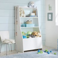 Better Homes & Gardens Cartwheel Bin Bookcase, Reversible White Finish