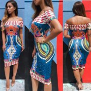 61d1f86242b Women Traditional African Print Dashiki Bodycon Sexy Short Sleeve Dress