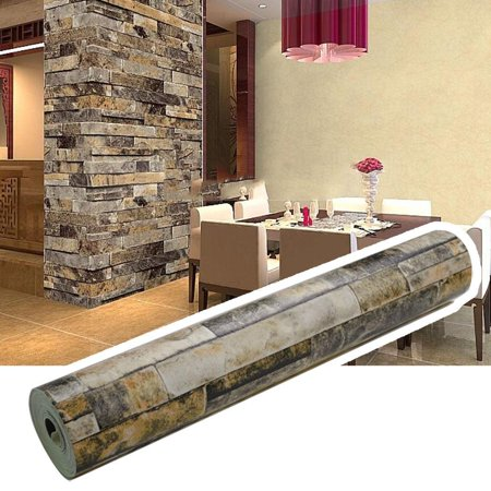 Wallpaper Effect Natural Embossed Stack Stone Brick Wall Paper