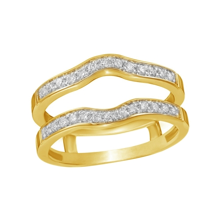 White Natural Diamond Contour Solitaire Enhancer Guard Ring in 14k Yellow Gold (1/4 Cttw)
