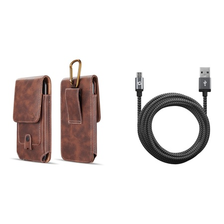 Bemz Accessory Bundle for Samsung Galaxy J2 Core - Vertical Belt Holster Carrying Case with Card Slots (Brown) with Heavy Duty Nylon Braided Micro USB Charger Cable (9 Feet) and Atom Cloth