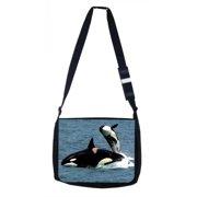 9a1c28420595 Orca Killer Whales Black Laptop Shoulder Messenger Bag and Small Wire  Accessories Case Set