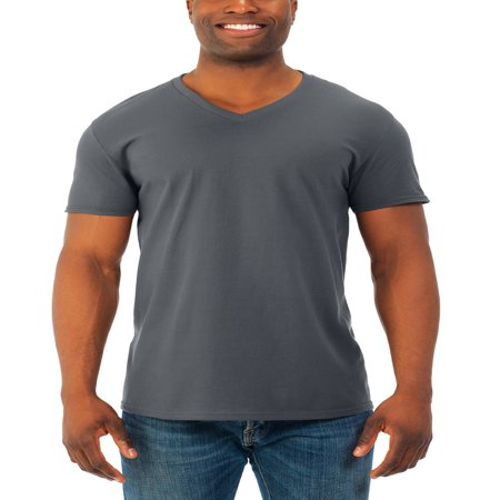 Fruit of the Loom Mens' soft short sleeve lightweight v neck t shirt, 4 pack