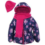 e21401916665 pink platinum girls quilted coat floral print winter puffer jacket with  scarf and hat