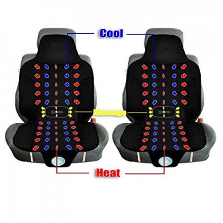Zento Deals 3-in-1 Car Seat Cushion 2-Pack Black Automotive 12V Comfortable Cooling, Heating, Massaging Car Seat - Automotive Cooling