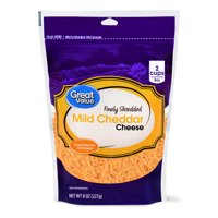 Great Value Finely Shredded Cheddar Cheese, Mild, 8 oz